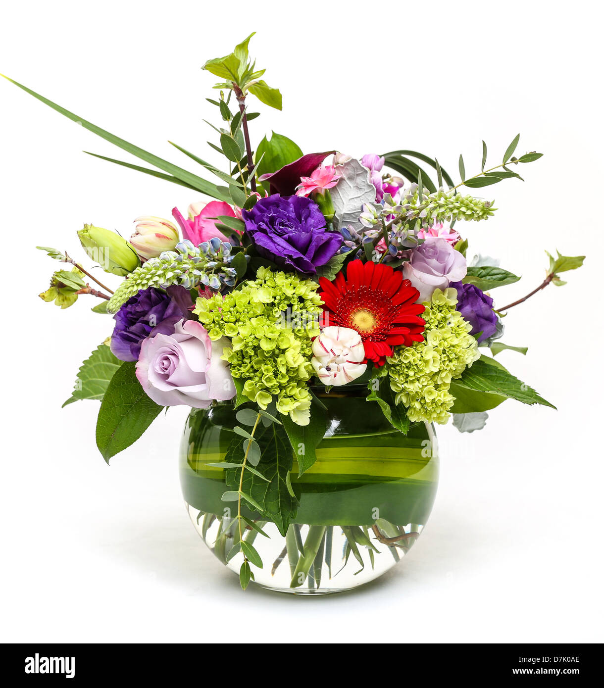 A Beautiful Spring Flower Arrangement In A Clear Vase Stock Photo