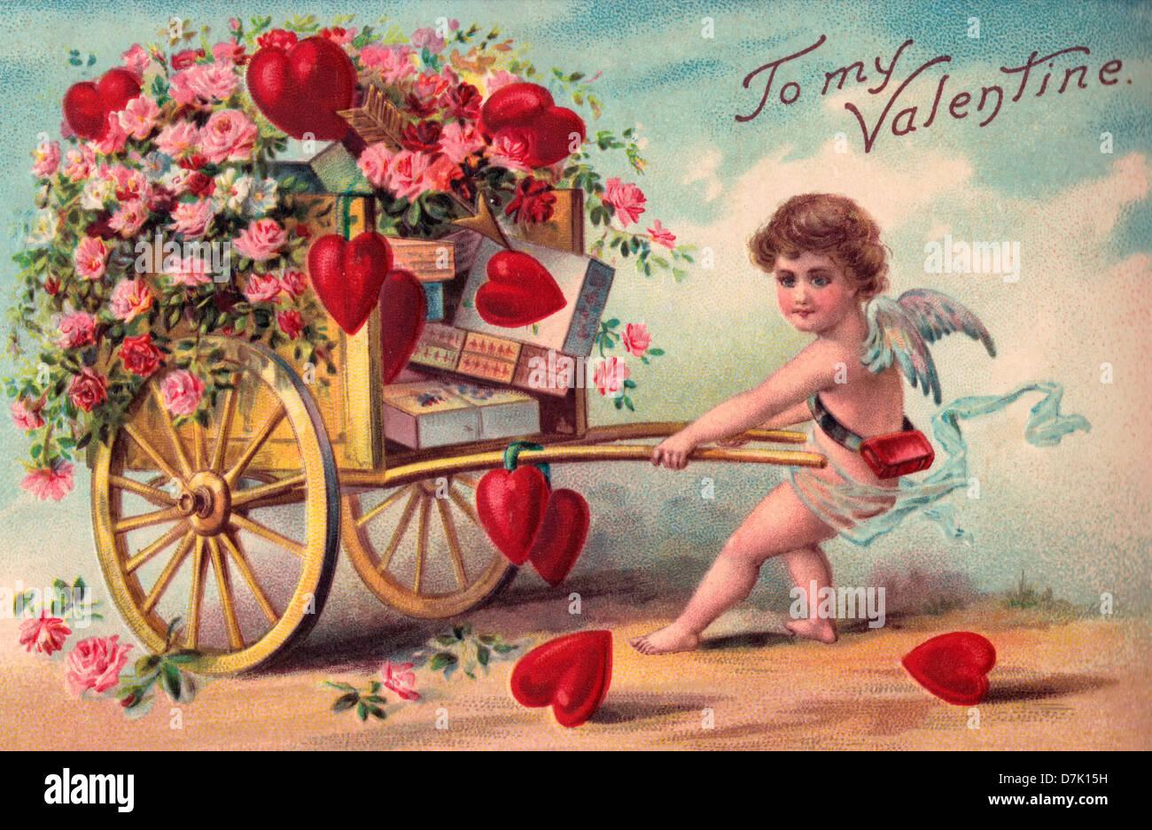 To My Valentine , Vintage Valentine\u0027s Day Card with Cupid