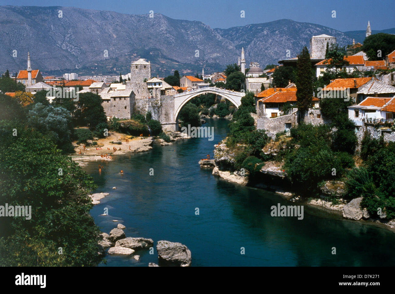 Mostar Bosnia River Bridge (original pre-war) & Town Neretva Rivers - Stock Image