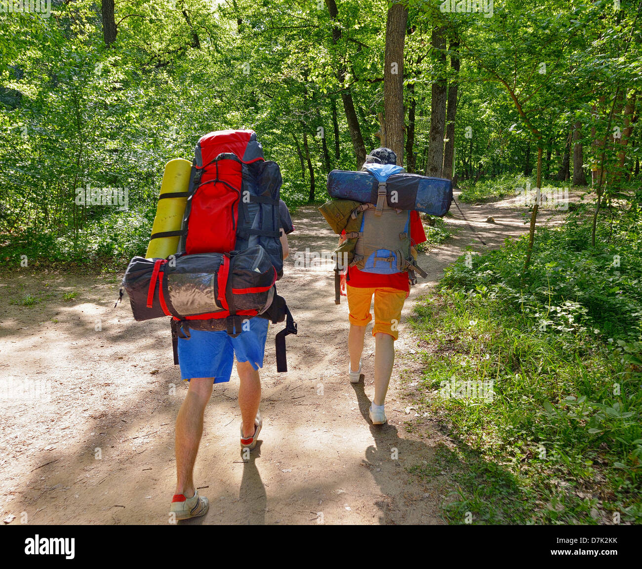Tourists on the march with backpacks - Stock Image