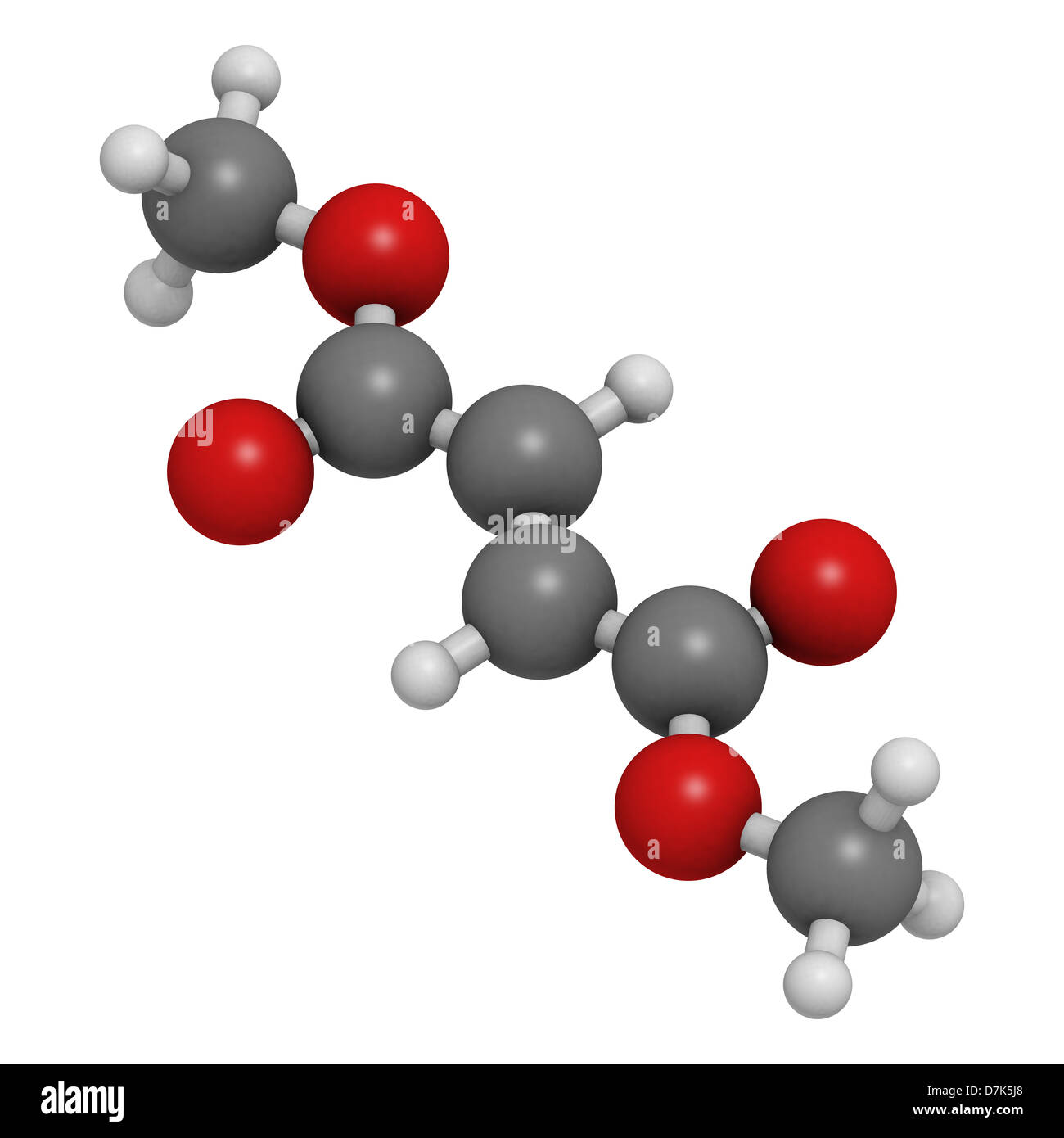 Dimethyl fumarate (DMF) multiple sclerosis and psoriasis drug, molecular model. Atoms are represented as spheres. - Stock Image