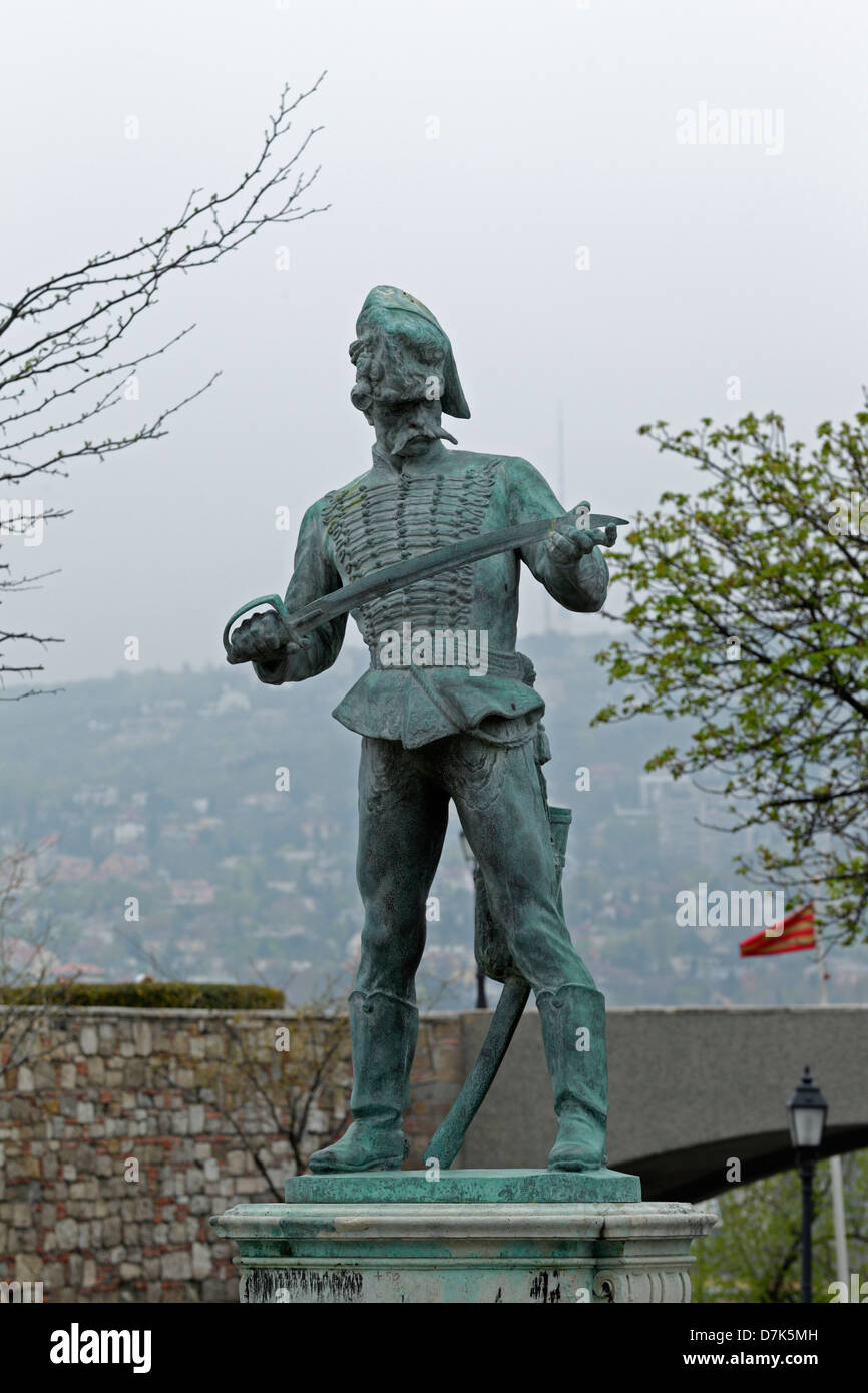 Statue of Öreg Husár in the castle district, Budapest - Stock Image