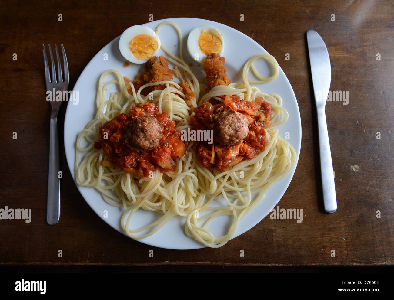 Templin, Germany, plates with stylized Spaghetti Monster - Stock Image