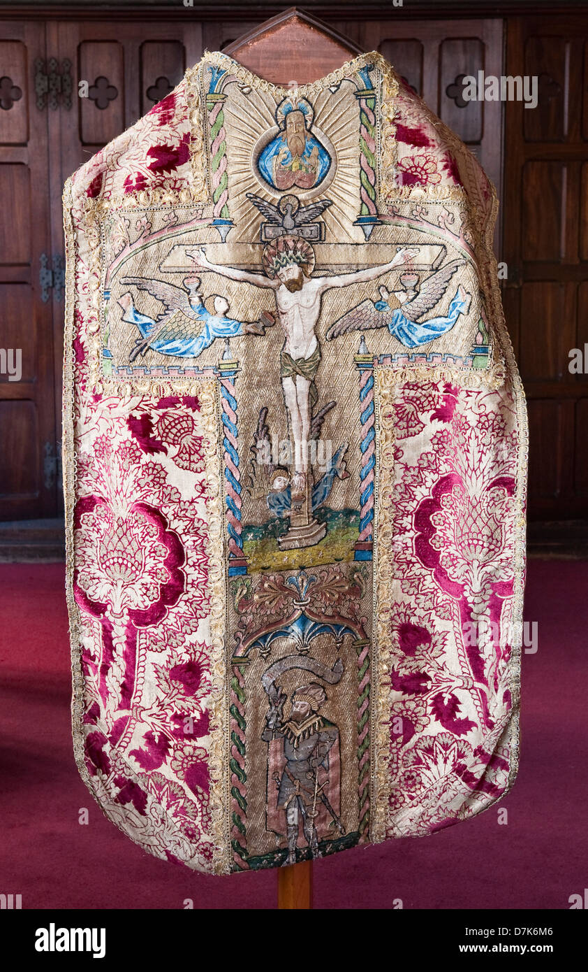 A finely embroidered medieval cope showing the Crucifixion - Stock Image