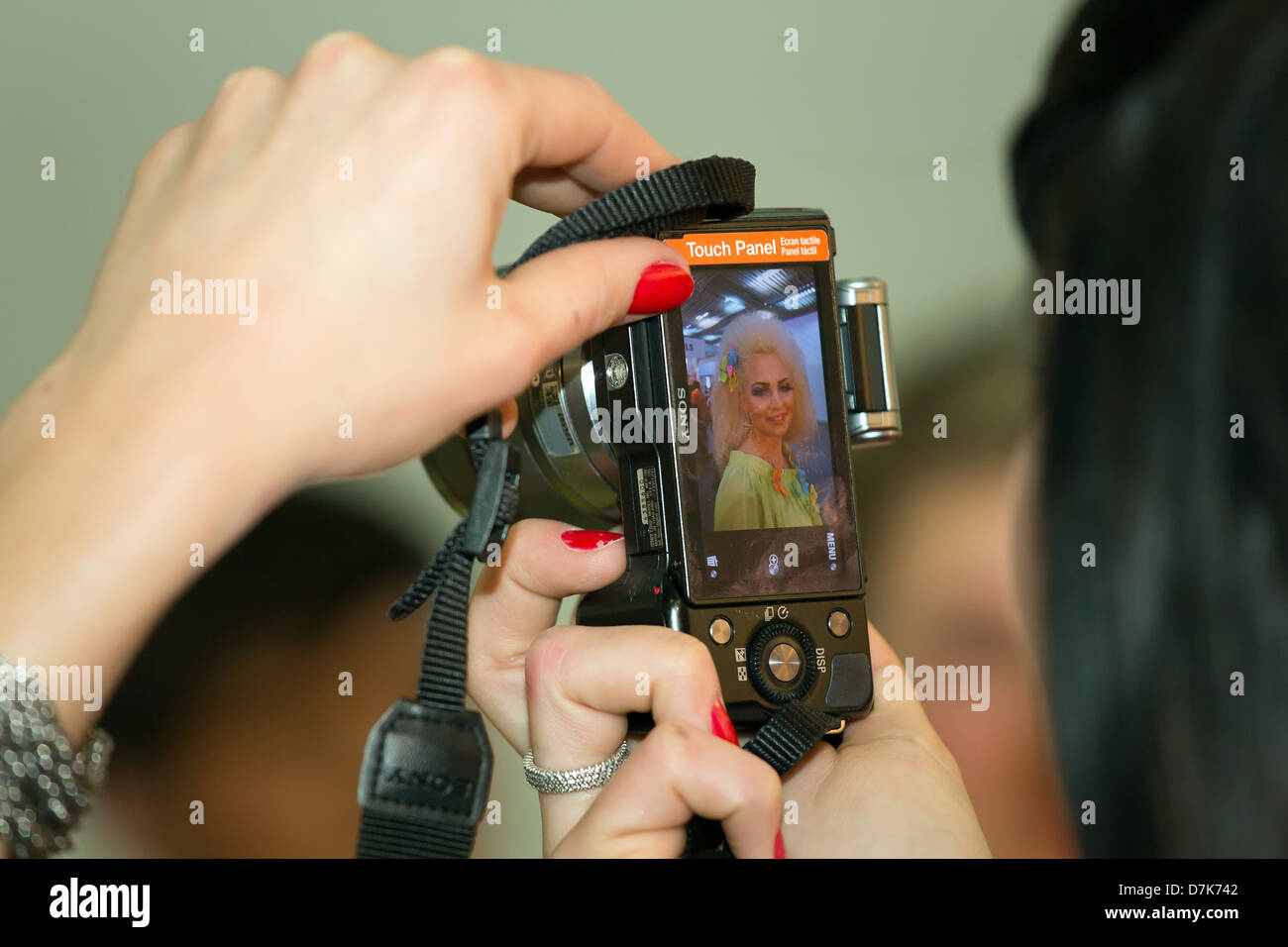 Poznan, Poland, photographed woman rouged woman - Stock Image