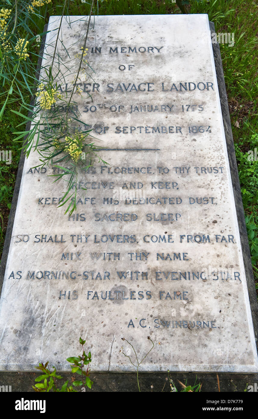 The grave of the writer and poet Walter Savage Landor in the English Cemetery, Florence, Italy. A mimosa grows by - Stock Image