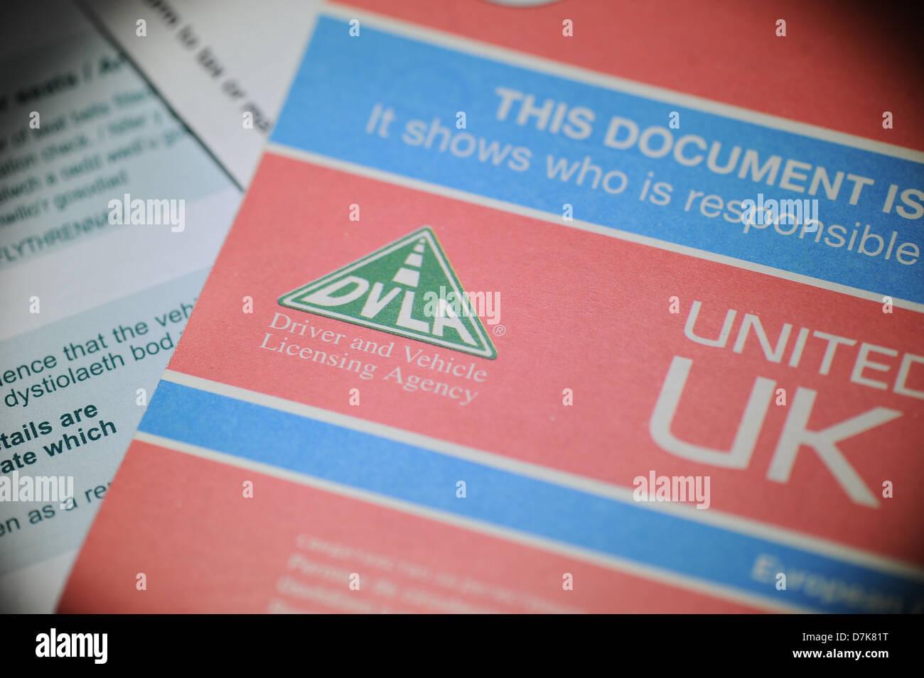 DVLA vehicle registration document - Stock Image