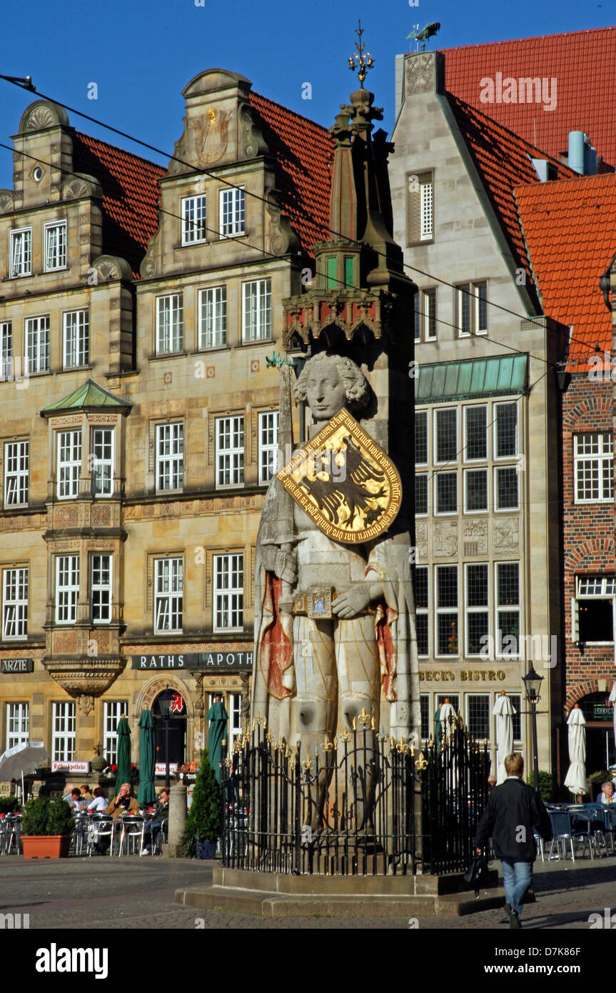 Germany, Bremen, marketplace with Roland - Stock Image