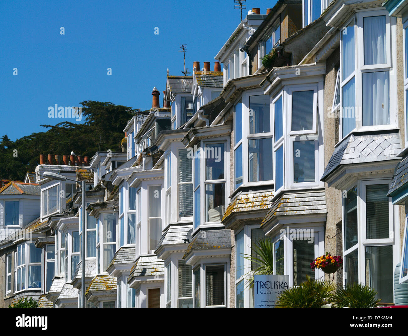 St . Ives Bedford Road row of houses bay windows close up. - Stock Image