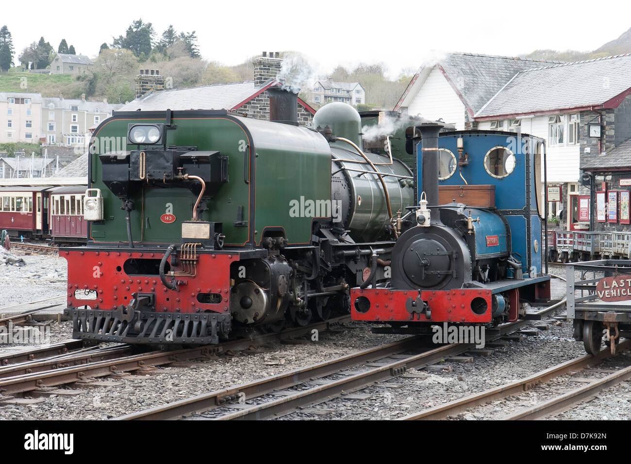 Steam locomotive on the Welsh Highland line railway Wales and the Ffestiniog Railway, Wales - Stock Image