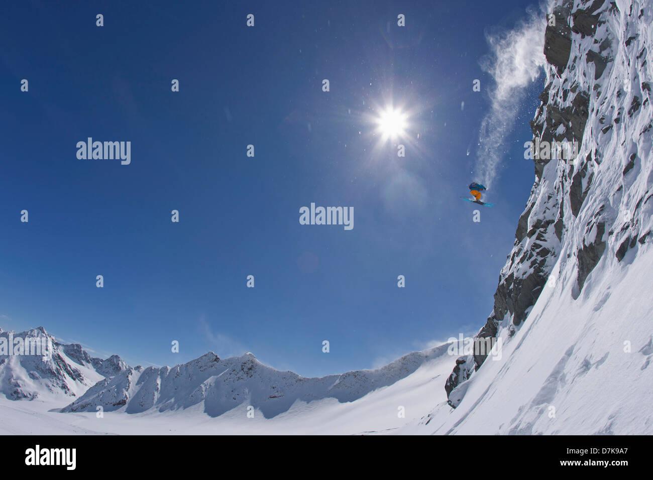 Austria, Tirol, Young man doing freeride skiing - Stock Image