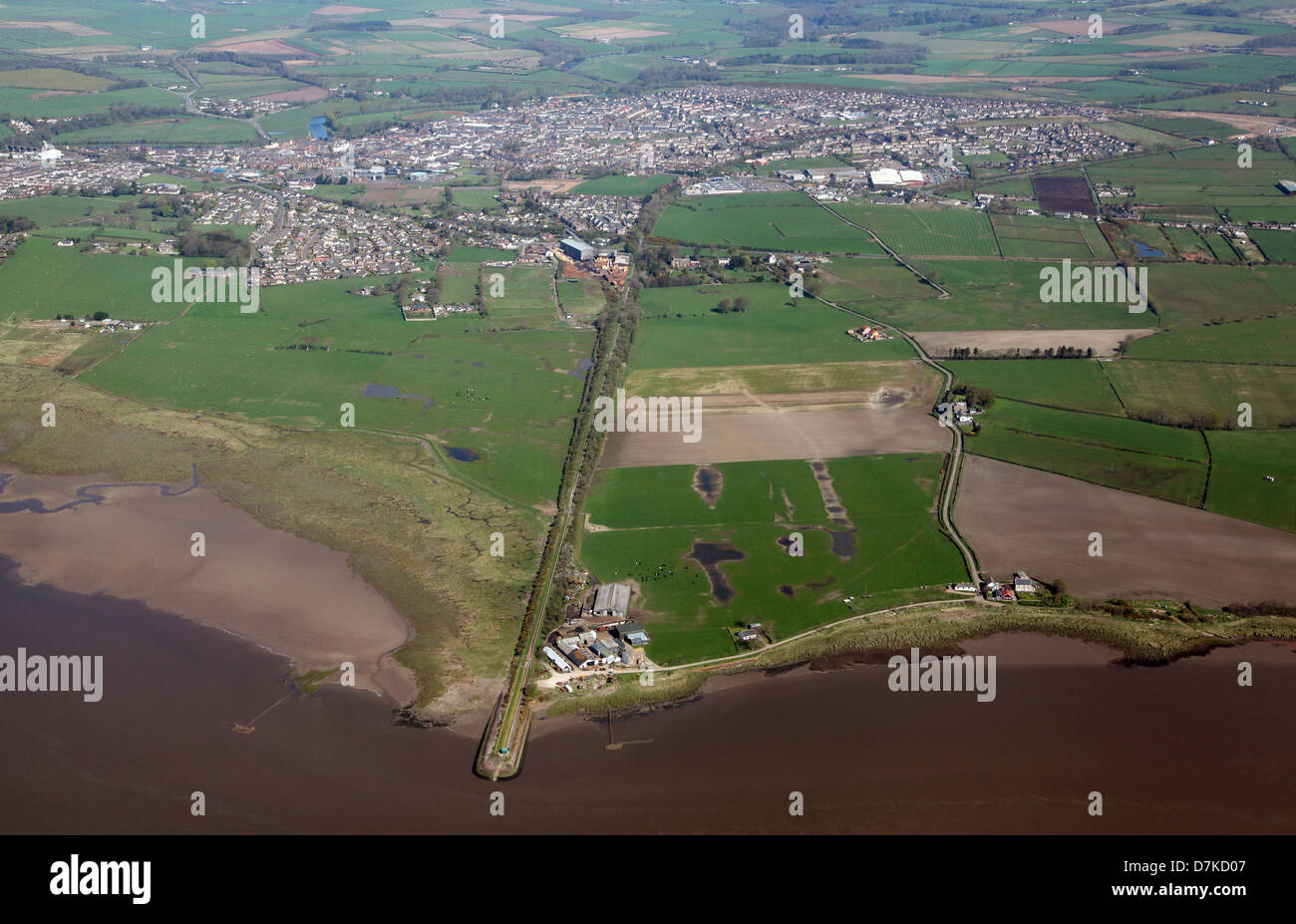 aerial view of Annan near Dumfries in the Solway Firth, South West Scotland - Stock Image