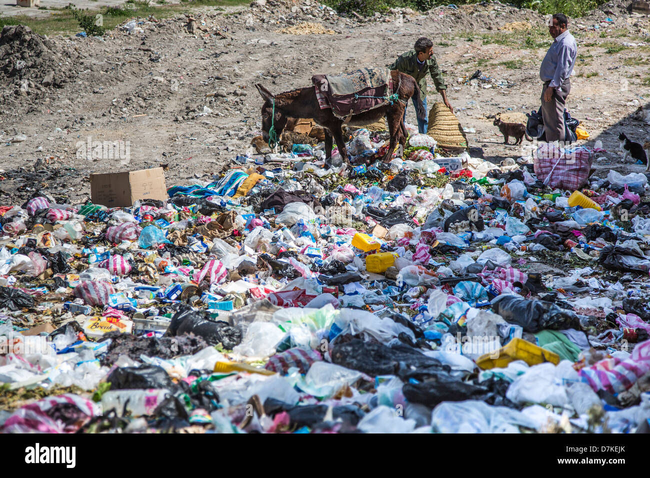 Dumping garbage in Le Kef Tunisia - Stock Image