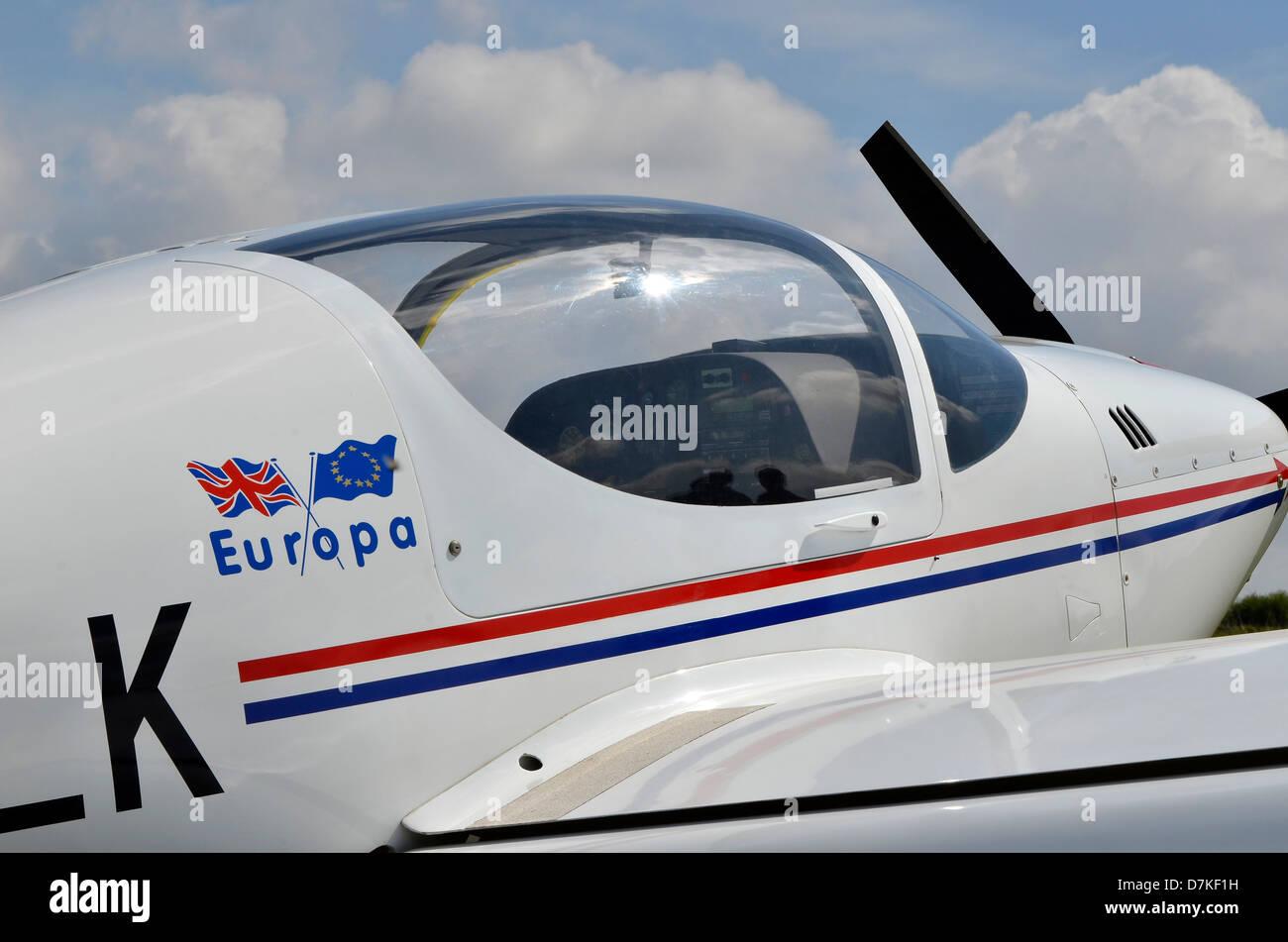 Home built modern light aircraft, a Europa Classic  a British kitplane produced by Europa Aircraft (2004) Ltd - Stock Image