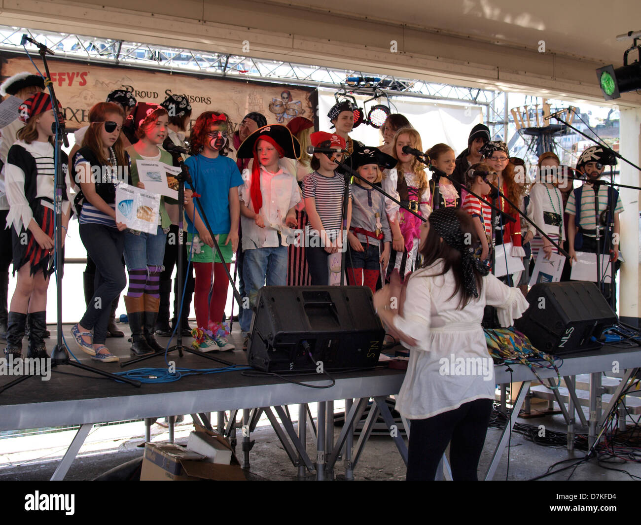 Local school children singing at the Brixham Pirate Festival