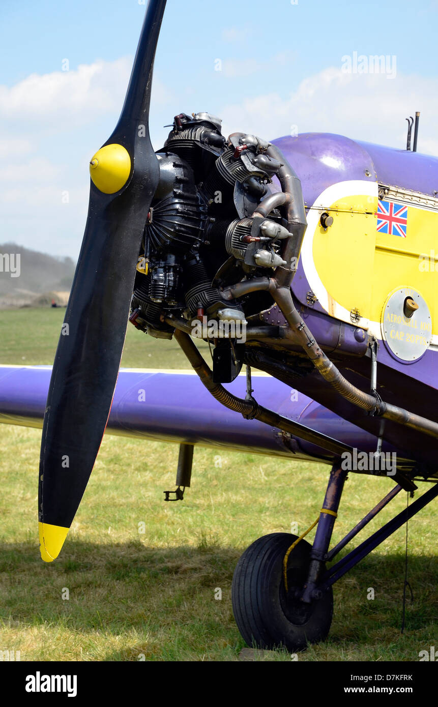 British Aircraft Manufacturing Company Swallow monoplane from the 1930s with Pobjoy Cararact ll radial engine. - Stock Image