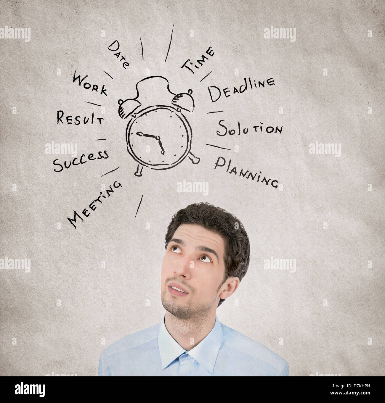 Concept portrait of businessman planning his working day wishes to succeed in personal growth on grunge texture - Stock Image