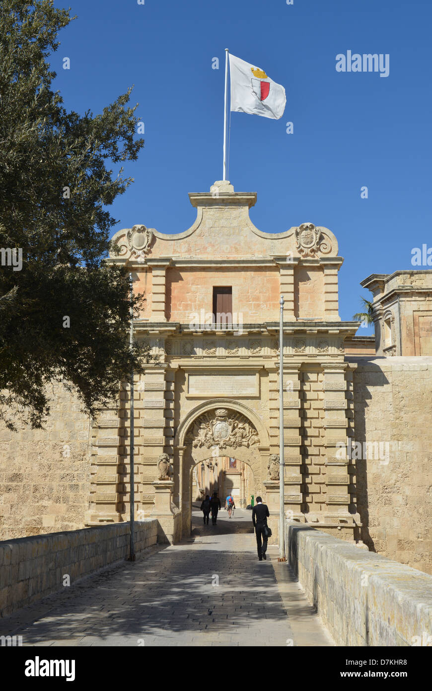 Gate to the Medieval Walled City of Madina, Malta -1 - Stock Image