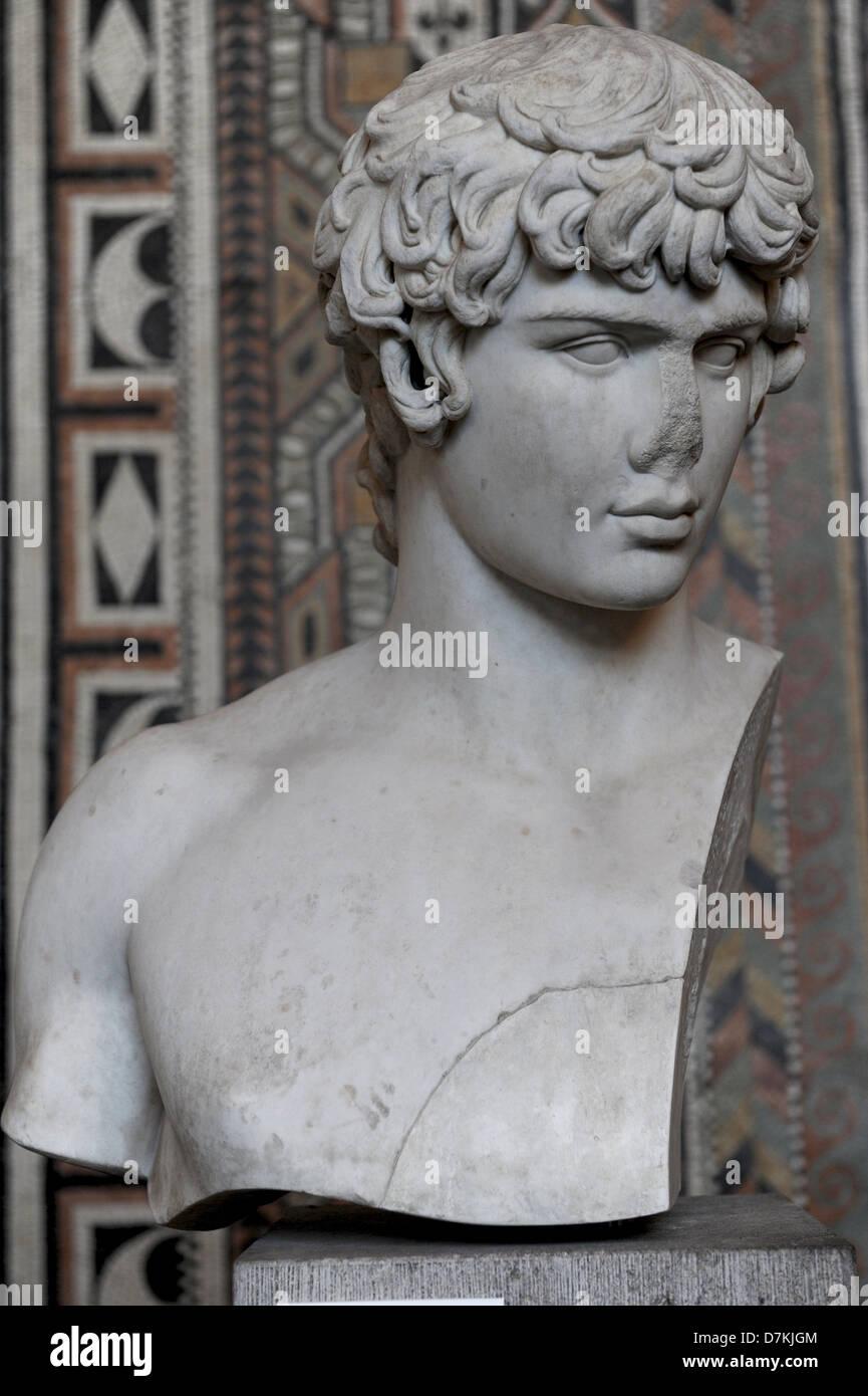 Antinous (110-130). Member of the Roman Emperor Hadrian's entourage. Bust, c. 130 a.C. Glyptothek. Munich. Germany. - Stock Image
