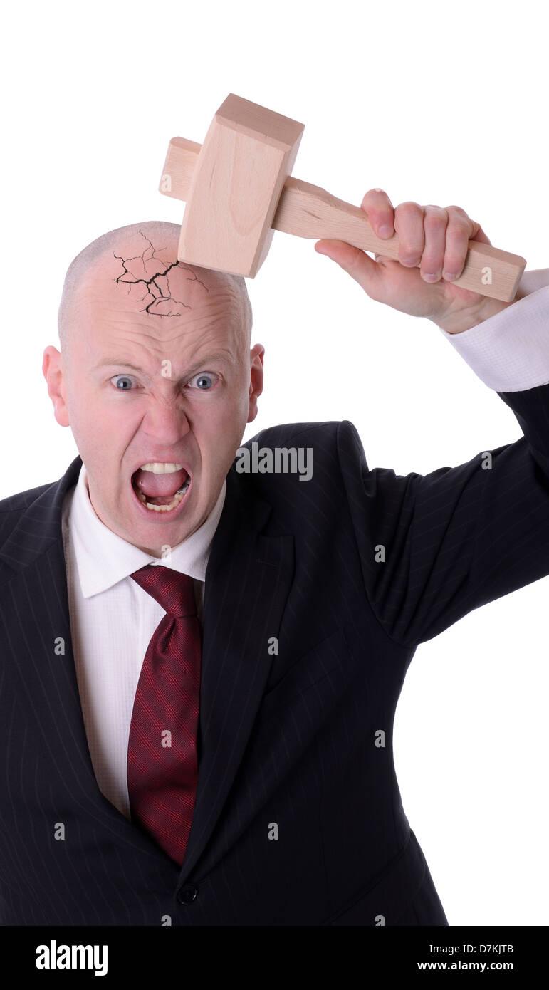 businessman under pressure smashing head isolated on white - Stock Image