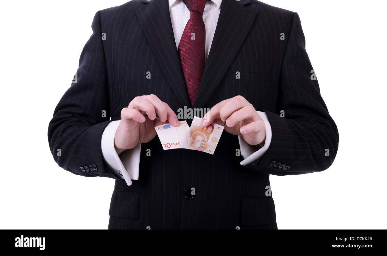 businessman tearing up euro note concept of euro zone banking crisis isolated on white background - Stock Image