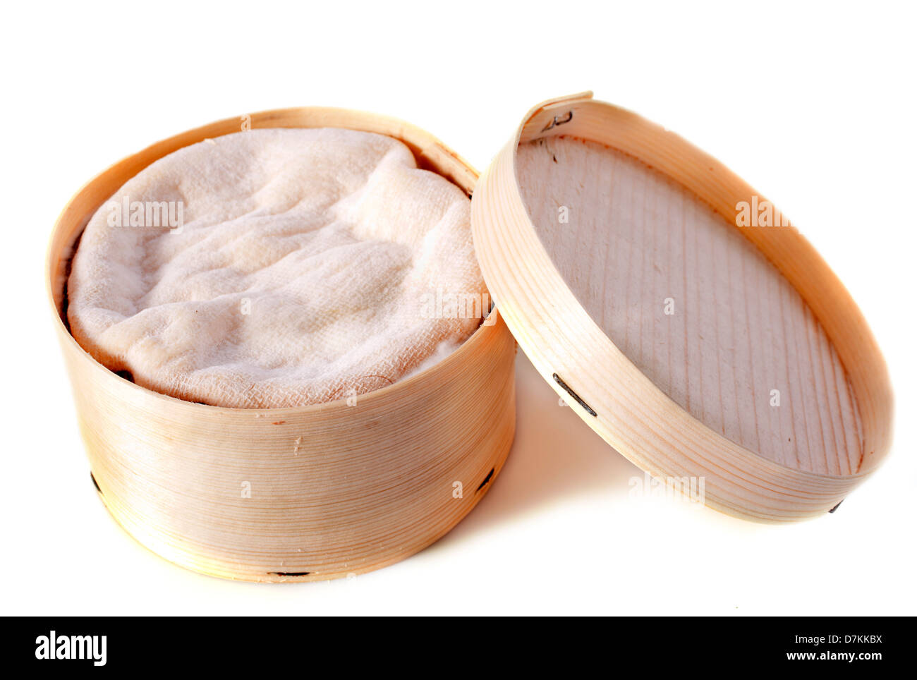 vacherin cheese in front of white background - Stock Image
