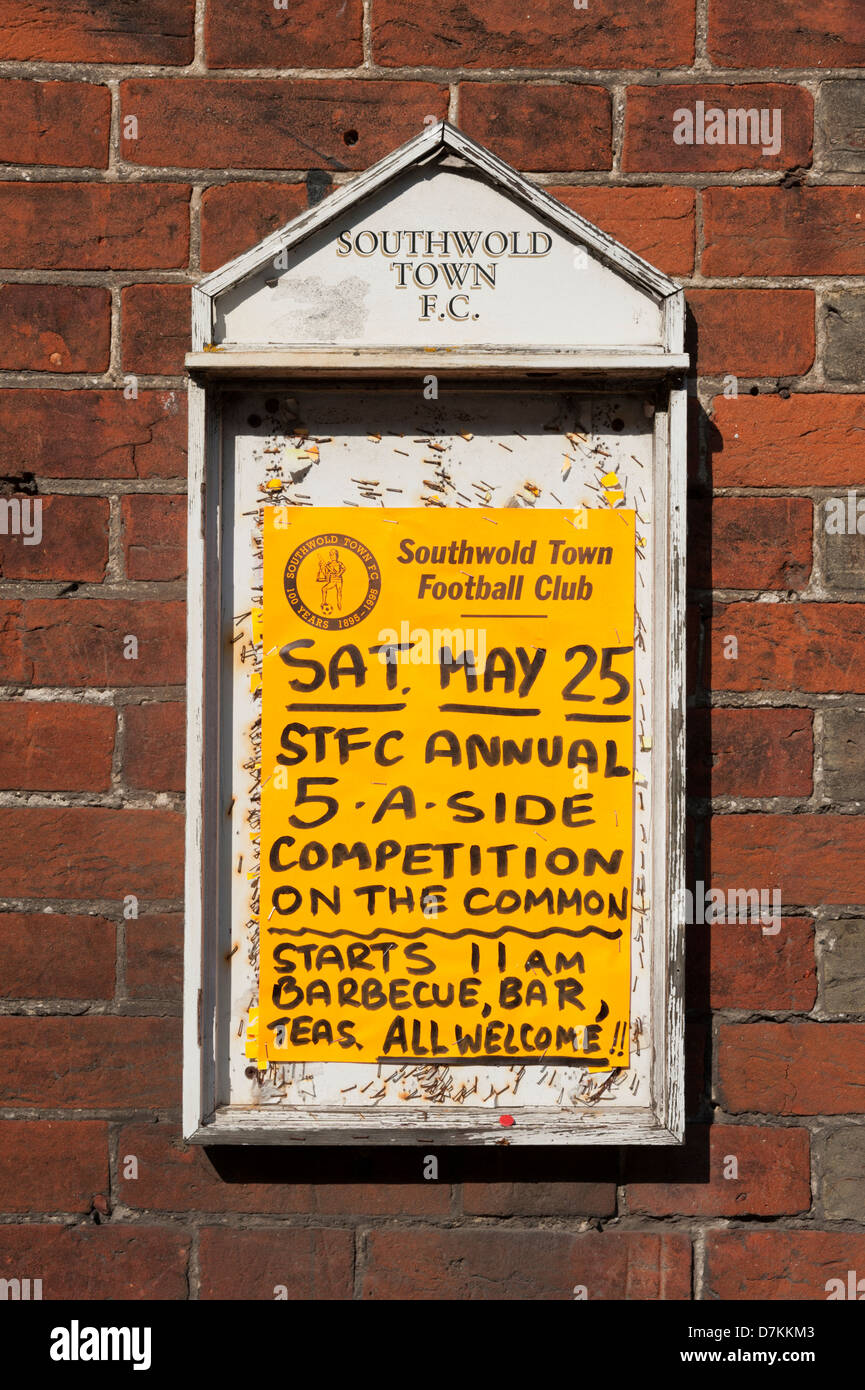 Southwold Town football club noticeboard advertising a five a side competition Southwold Suffolk UK - Stock Image