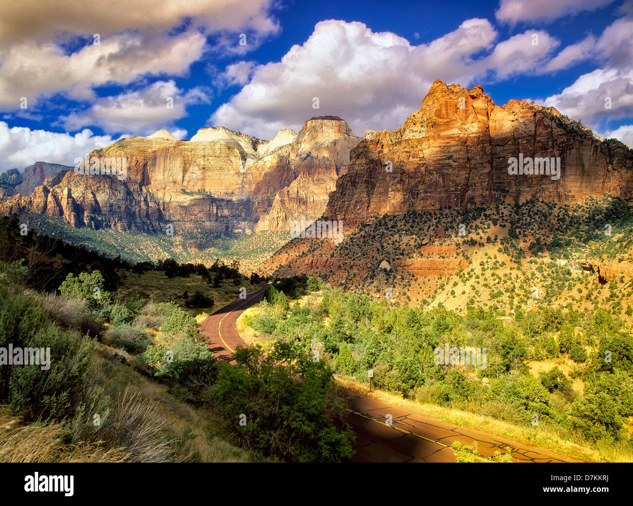 Road in Zion National Park with clouds, Utah - Stock Image