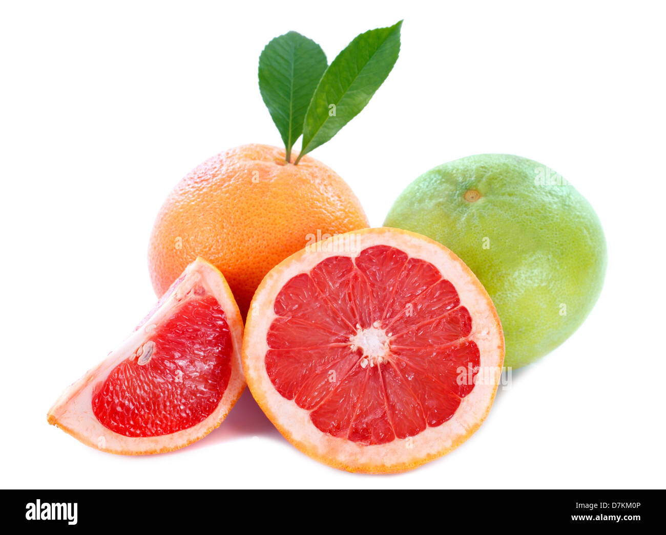 red grapefruit and Jaffa Sweetie isolated on a white background - Stock Image