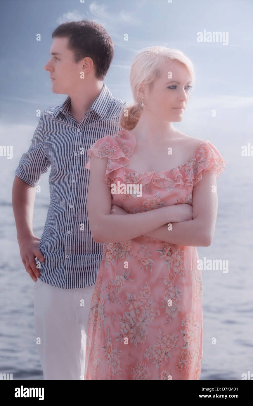 a couple having a conflict - Stock Image