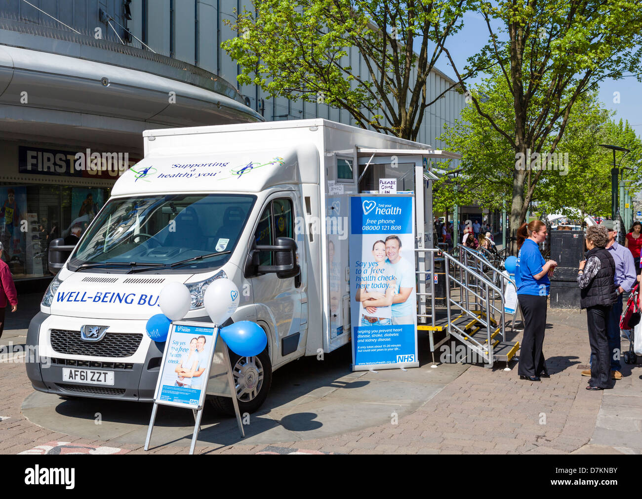 The NHS Well Being Bus giving free health checks in the town centre, Doncaster, South Yorkshire, England, UK - Stock Image