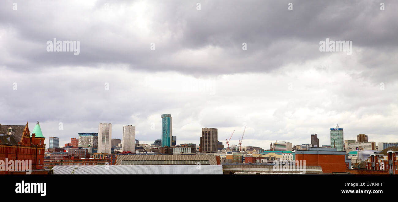 Panorama of Birmingham City Centre showing many of the tallest buildings in Birmingham - Cityscape on a cloudy day Stock Photo