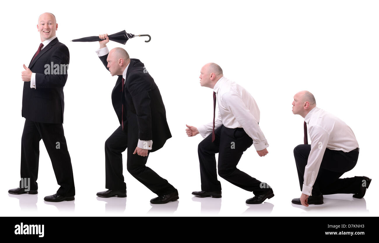 concept of development of a businessman survival of the fittest isolated on white - Stock Image