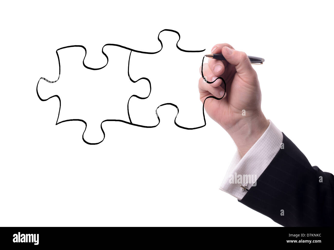 drawing pieces of a puzzle with copy space for text isolated on white - Stock Image