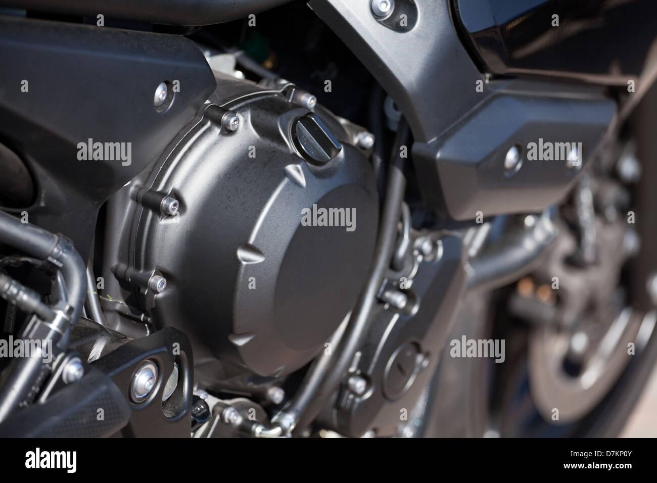 engine motorcycle cylinder closeup detail - Stock Image