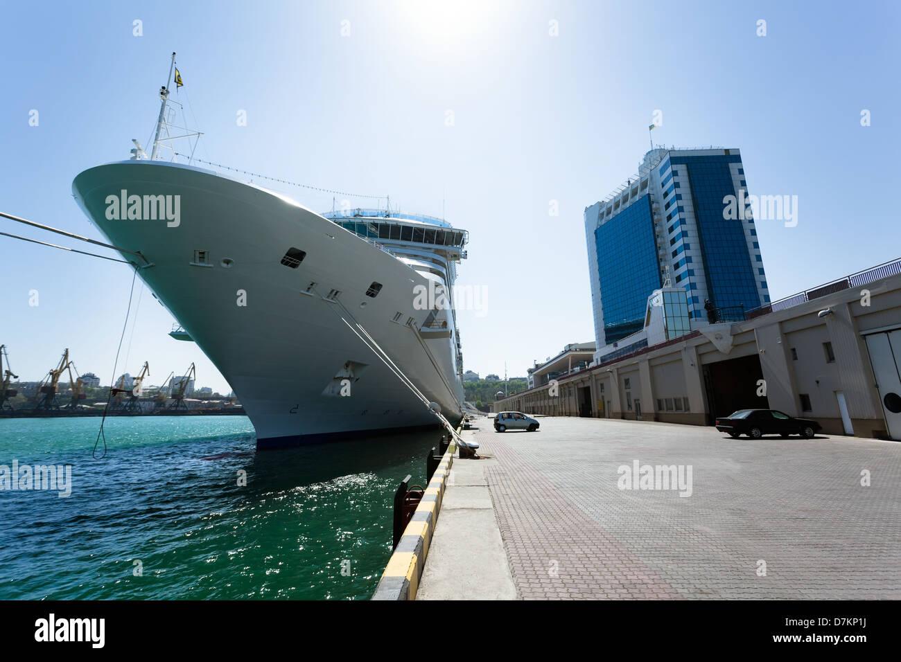 passenger ship bow port odessa - Stock Image