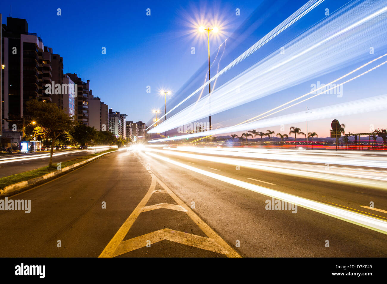 Traffic lights at Beira Mar Norte Avenue at evening. - Stock Image