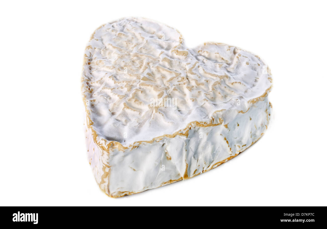 Whole Heartshaped Neufchatel cheese on white background - Stock Image