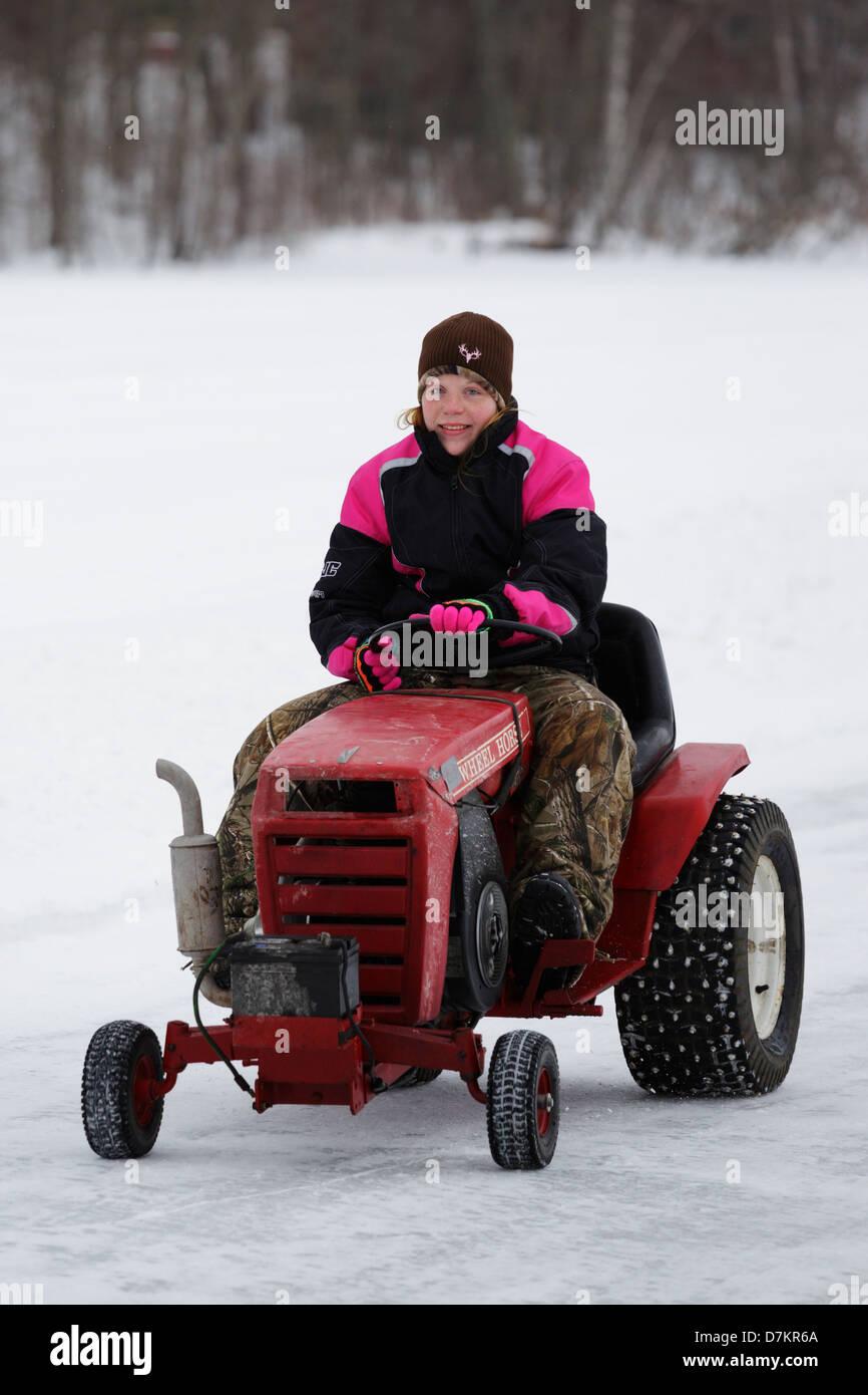 Lawn mower ice races on Knife Lake - Minnesota, USA. - Stock Image