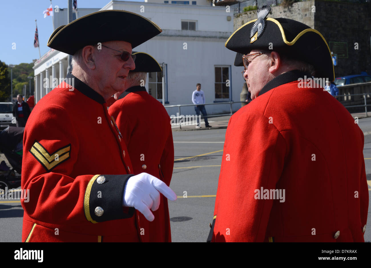 9th May 2013. St Peter Port Guernsey. Chelsea Pensioners prepare for the Liberation Day parade - Stock Image