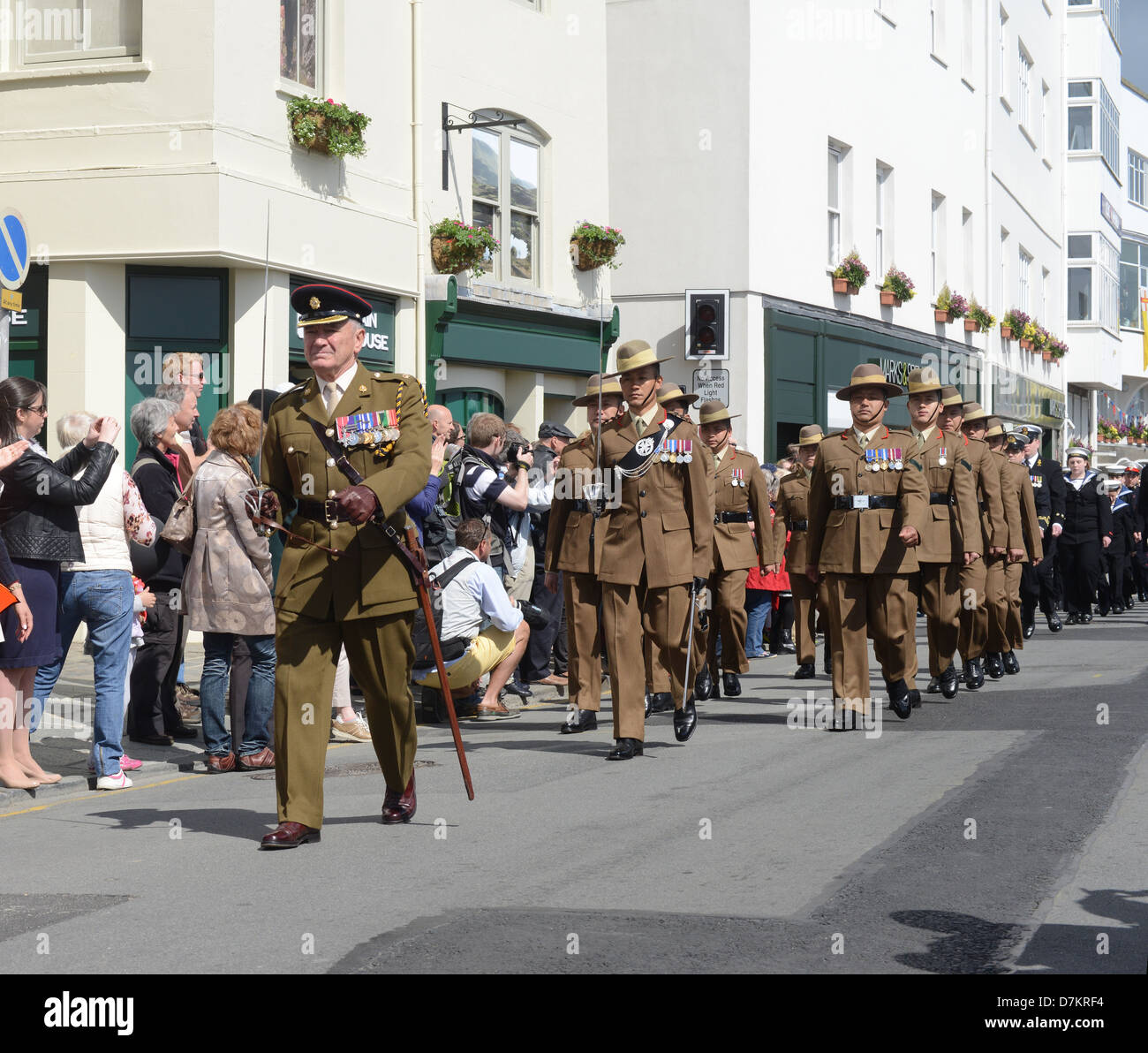 Gurkha troops on parade during Liberation Day celebrations in Guernsey - Stock Image