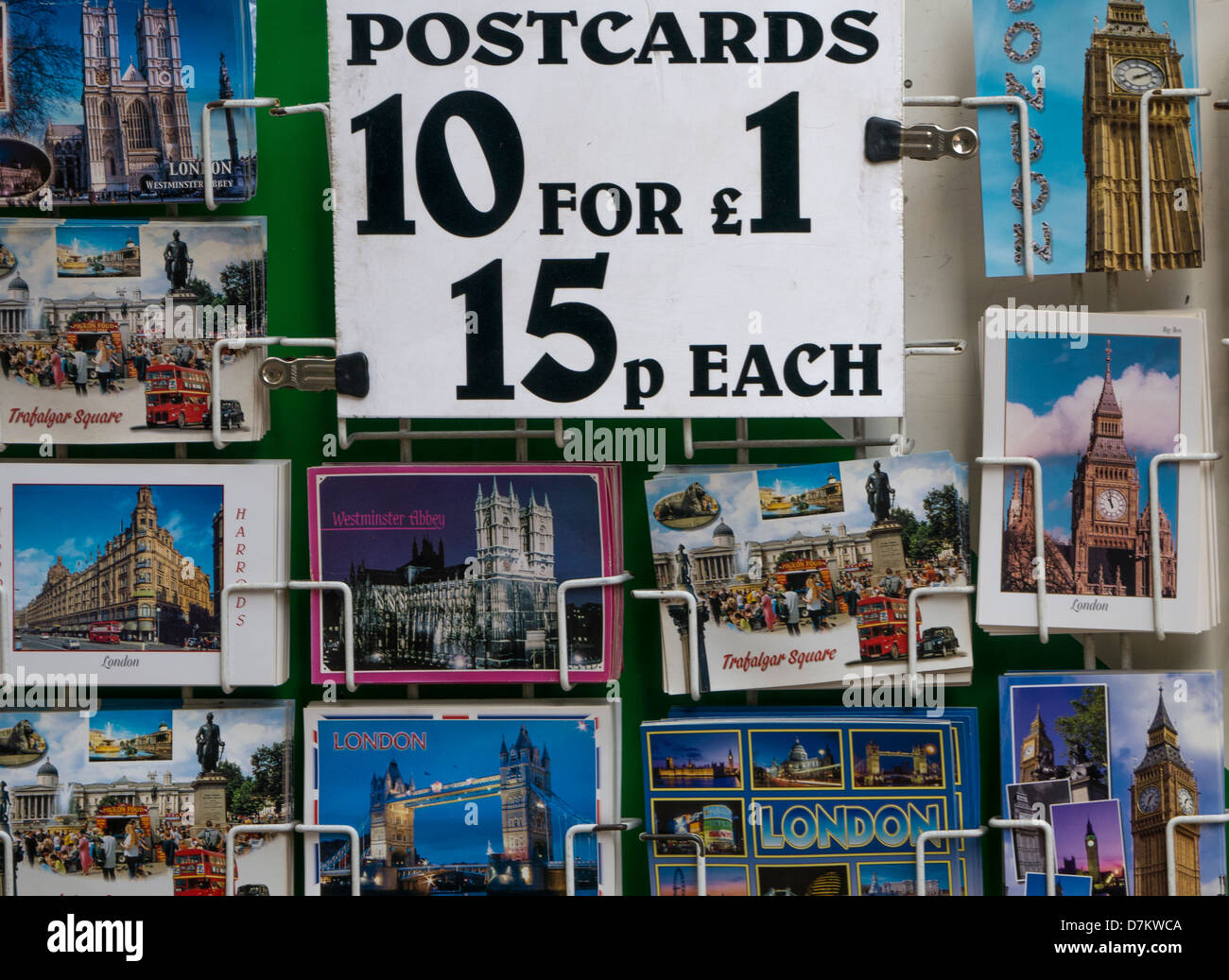 Postcards for sale in Gift Shop in London - Stock Image