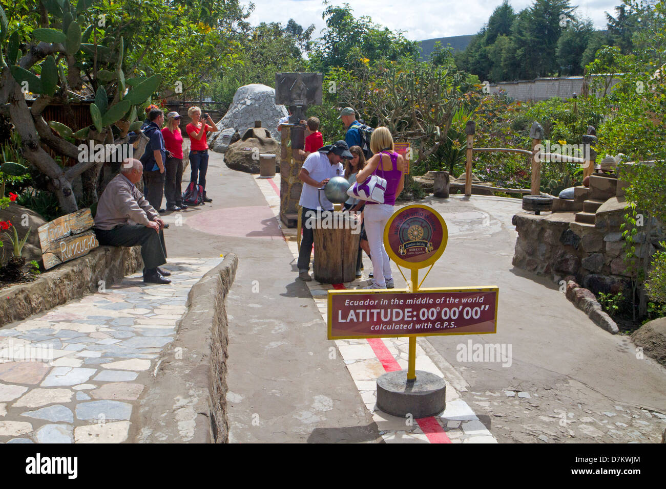 The line of the equator at the Museo Solar Inti Nan - Stock Image