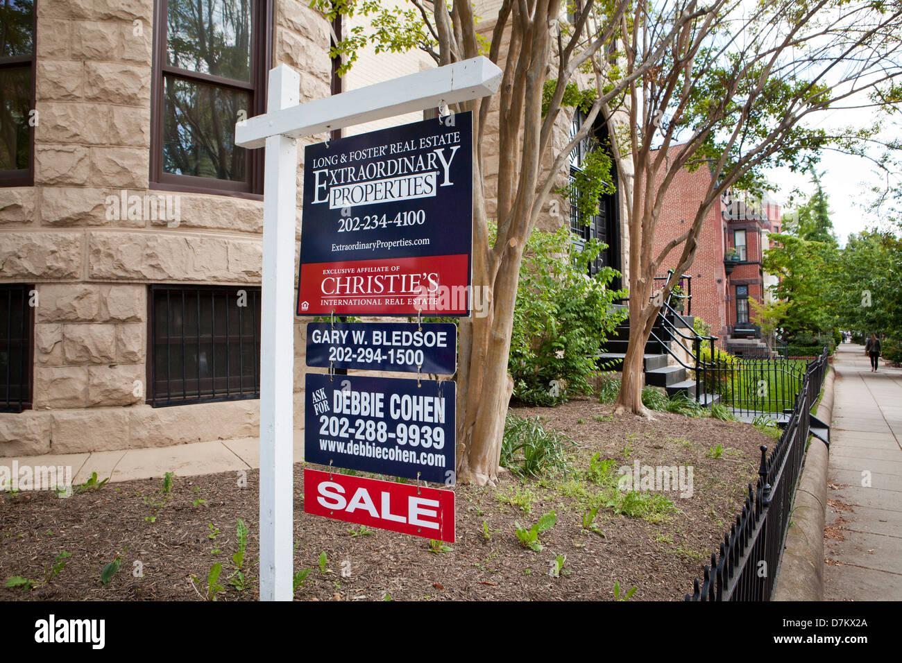 House for sale sign - Washington, DC USA - Stock Image