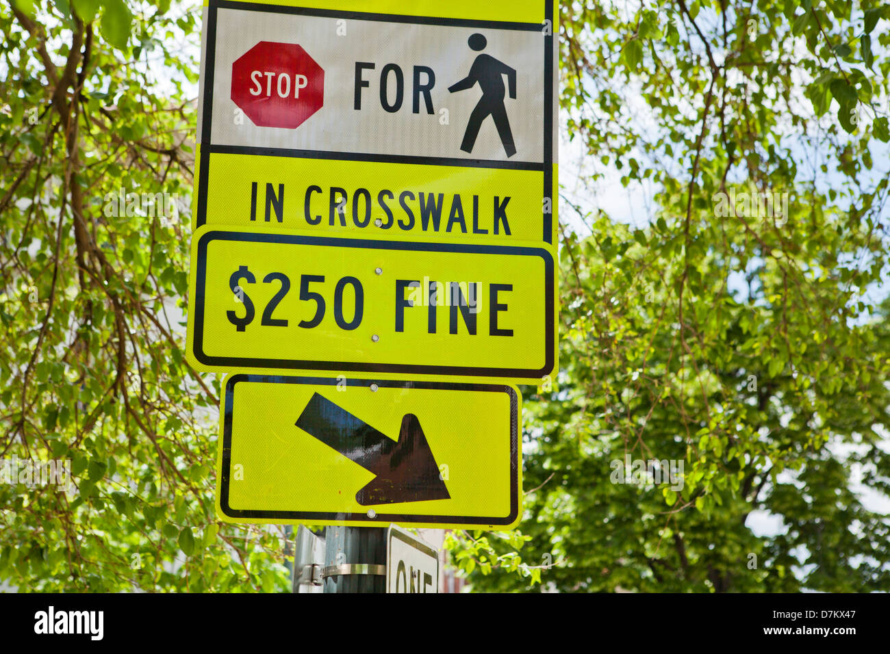 Pedestrian crosswalk warning sign - Stock Image