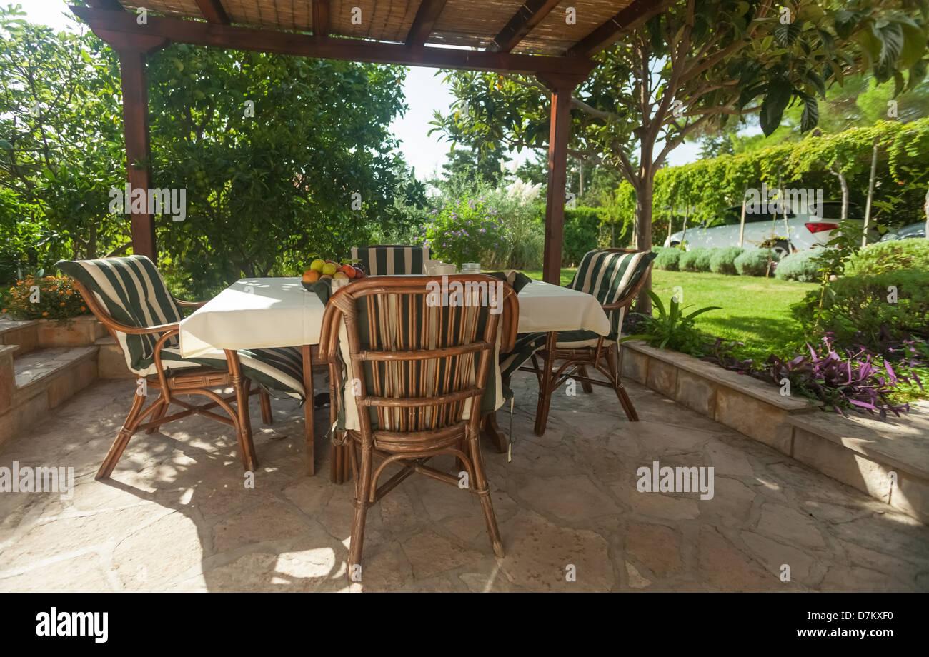 Garden Terrace In Mediterranean Style Environment   Stock Image