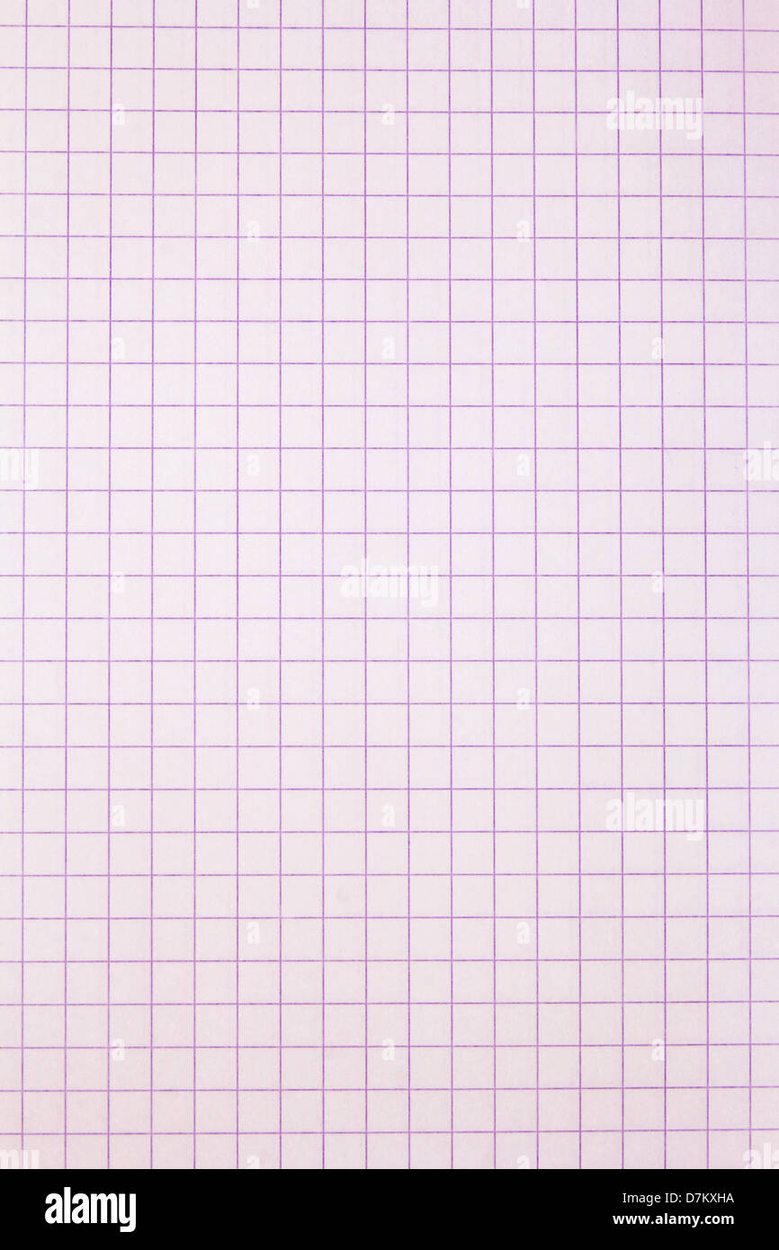 pink, squared sheet of paper - Stock Image
