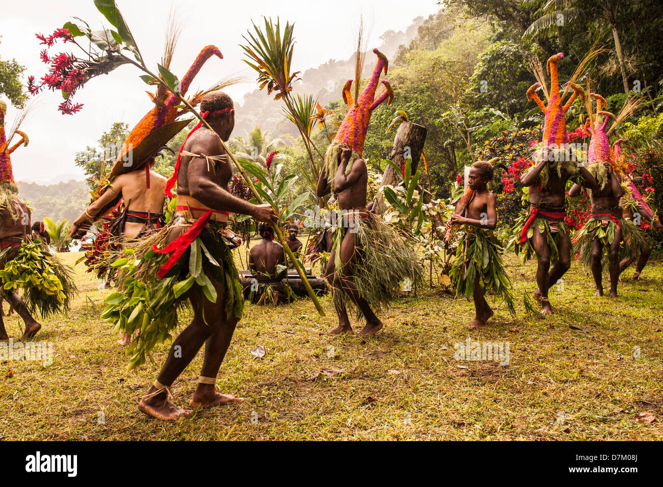 Parrat dancers entertain villagers and tourists during the traditional cultural festival in Labo village, Malekula, - Stock Image