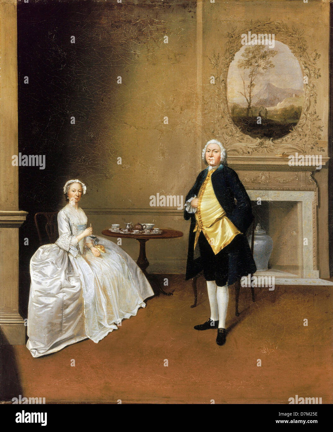Arthur Devis, Mr. and Mrs. Hill 1750-1751 Oil on canvas. Yale Center for British Art, New Haven, Connecticut, USA. - Stock Image