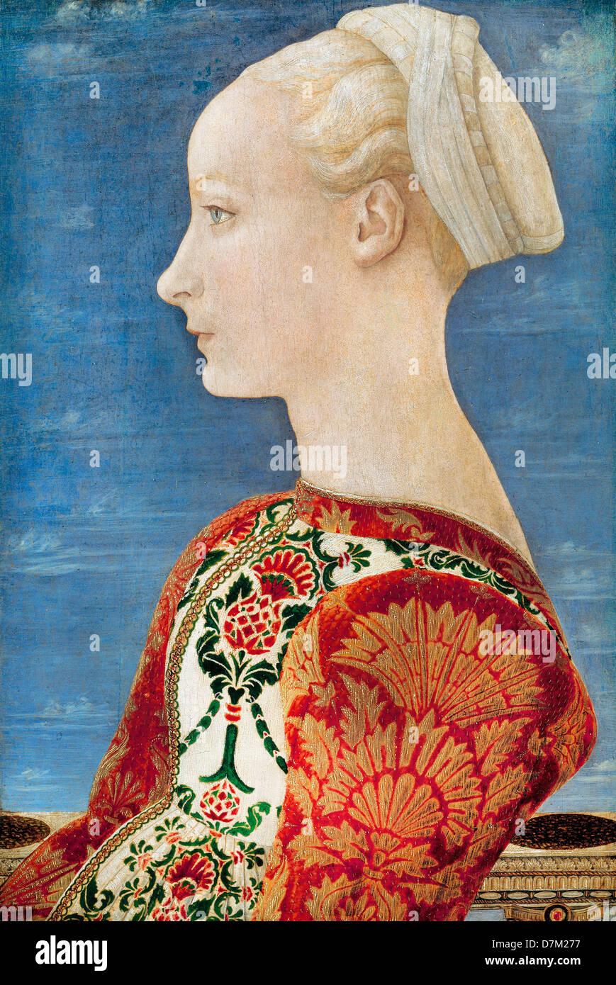 Domenico Veneziano, Profile Portrait of a Young Lady 1465 Oil on poplar wood. Gemaldegalerie, Berlin - Stock Image